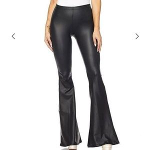 Faux leather high waist flare pants